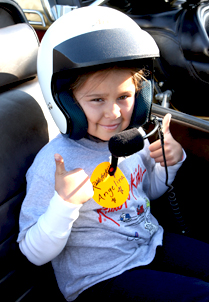 Philadelphia survivor Angelina gives her sidecar a thumbs up.