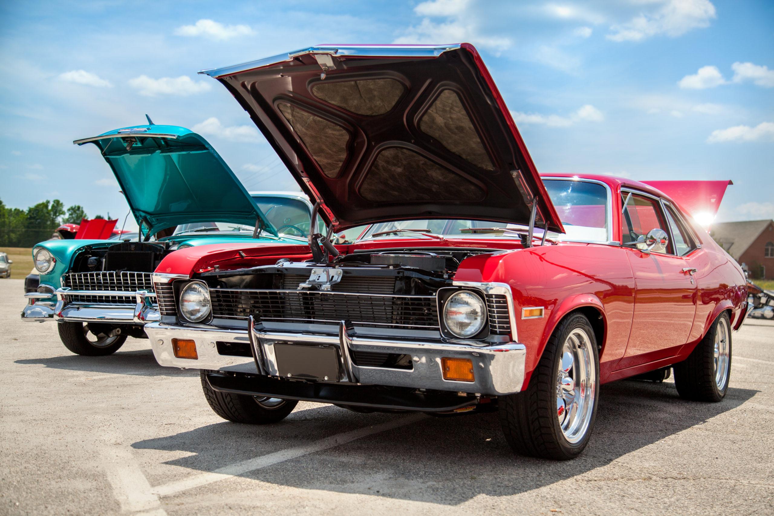 Classic Car Show Hoods Open