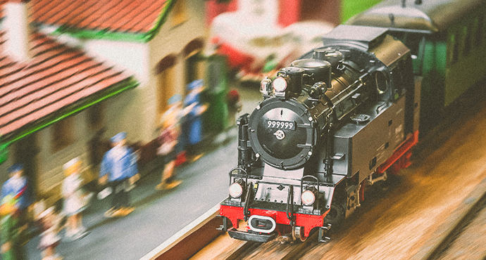 collectible train on track